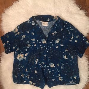 90s vintage floral buttondown